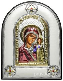 Казанская Божья Матерь, греческая икона шелкография, серебряный оклад, цветная эмаль, рамка в коже - фото 8349