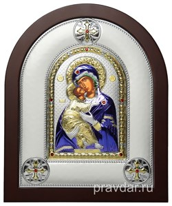Владимирская Божья Матерь, греческая икона шелкография, серебряный оклад, цветная эмаль - фото 8352