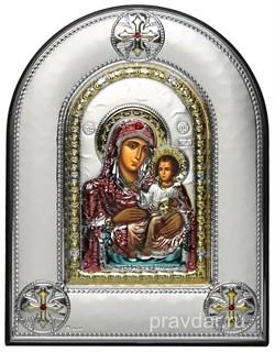 Иерусалимская Божья Матерь, греческая икона шелкография, серебряный оклад, цветная эмаль, рамка в коже - фото 8361