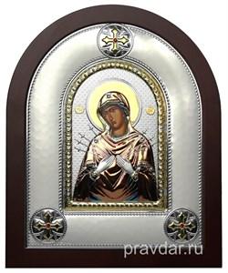 Семистрельная Божья Матерь, греческая икона шелкография, серебряный оклад, цветная эмаль - фото 8364