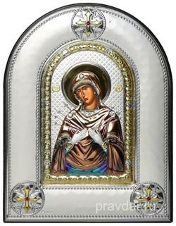 Семистрельная Божья Матерь, греческая икона шелкография, серебряный оклад, цветная эмаль, рамка в коже - фото 8367