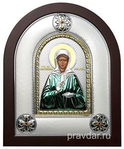 Матрона Московская, греческая икона шелкография, серебряный оклад, цветная эмаль - фото 8376