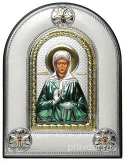 Матрона Московская, греческая икона шелкография, серебряный оклад, цветная эмаль, рамка в коже - фото 8379