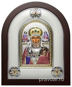 Николай Чудотворец, греческая икона шелкография, серебряный оклад, цветная эмаль - фото 8382