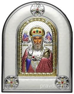 Николай Чудотворец, греческая икона шелкография, серебряный оклад, цветная эмаль, рамка в коже - фото 8387