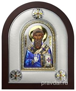 Спиридон Тримифунтский, греческая икона шелкография, серебряный оклад, цветная эмаль - фото 8390