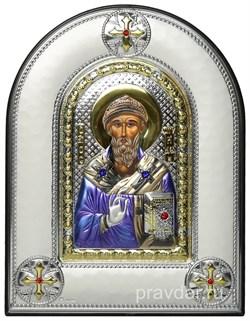 Спиридон Тримифунтский, греческая икона шелкография, серебряный оклад, цветная эмаль, рамка в коже - фото 8393