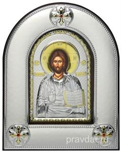Спас Премудрый, серебряная икона в киоте со стеклом - фото 8396