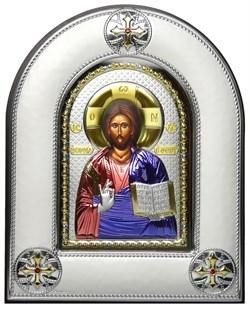 Спас Премудрый, серебряная икона в киоте со стеклом, цветная эмаль - фото 8399