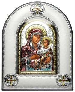 Иерусалимская Божья Матерь, серебряная икона в киоте со стеклом, цветная эмаль - фото 8424