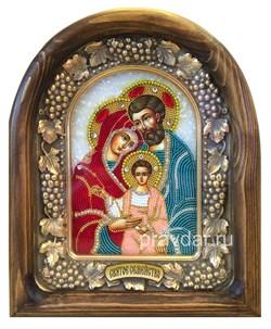 Святое Семейство (БМ Три радости), дивеевская икона из бисера ручной работы - фото 8429