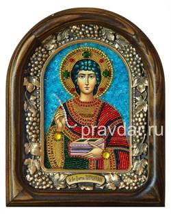 Пантелеймон Святой Великомученик, дивеевская икона из бисера ручной работы - фото 8460