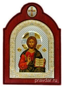 Спас Премудрый, икона шелкография, деревянный оклад с крестом, серебряная рамка - фото 8533