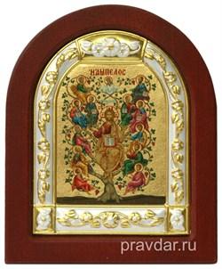 Спас Древо Жизни, икона шелкография, деревянный оклад, серебряная рамка - фото 8537