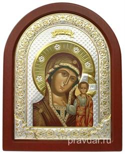 Казанская Божья Матерь, икона шелкография, деревянный оклад, серебряная рамка - фото 8541