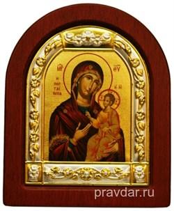 Иверская Божья Матерь, икона шелкография, деревянный оклад, серебряная рамка - фото 8549