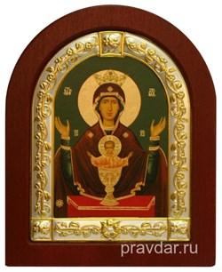 Неупиваемая чаша Божья Матерь, икона шелкография, деревянный оклад, серебряная рамка - фото 8553