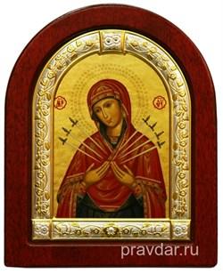 Семистрельная Божья Матерь, икона шелкография, деревянный оклад, серебряная рамка - фото 8561