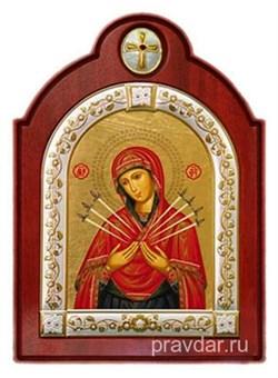 Семистрельная Божья Матерь, икона шелкография, деревянный оклад с крестом, серебряная рамка - фото 8565