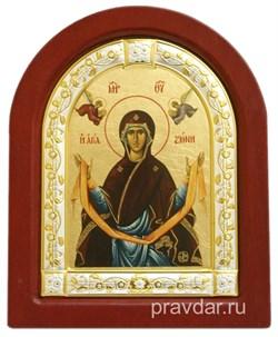Покров Пресвятой Богородицы, икона шелкография, деревянный оклад, серебряная рамка - фото 8569