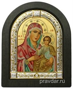 Иерусалимская Божья Матерь, икона шелкография, деревянный оклад, серебряная рамка - фото 8573