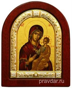 Одигитрия Божья Матерь, икона шелкография, деревянный оклад, серебряная рамка - фото 8577