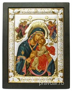 Сладкое Лобзание Божья Матерь, икона шелкография, деревянный оклад, серебряная рамка - фото 8589