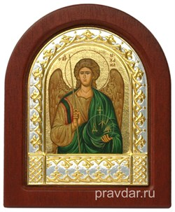 Михаил Архангел, икона шелкография, деревянный оклад, серебряная рамка - фото 8597