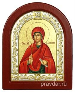 Валенитина Святая, икона шелкография, деревянный оклад, серебряная рамка - фото 8609