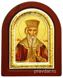 Владимир Святой князь, икона шелкография, деревянный оклад, серебряная рамка - фото 8613