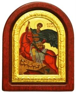 Дмитрий Солунский, икона шелкография, деревянный оклад, серебряная рамка - фото 8625
