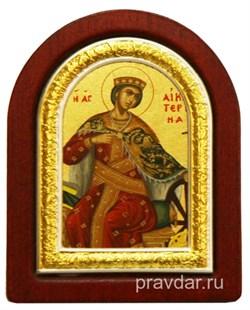 Екатерина Святая Великомученица, икона шелкография, деревянный оклад, серебряная рамка - фото 8629