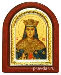 Елена Святая равноапостольная, икона шелкография, деревянный оклад, серебряная рамка - фото 8633