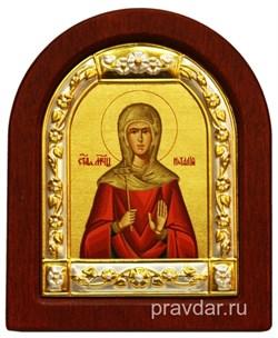 Наталия Святая, икона шелкография, деревянный оклад, серебряная рамка - фото 8669