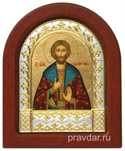 Олег Святой князь, икона шелкография, деревянный оклад, серебряная рамка - фото 8677