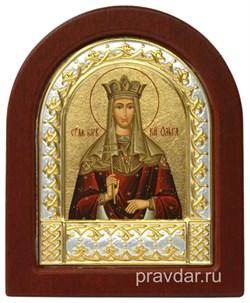 Ольга Святая равноапостольная, икона шелкография, деревянный оклад, серебряная рамка - фото 8681