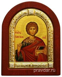 Пантелеймон целитель Великомученик, икона шелкография, деревянный оклад, серебряная рамка - фото 8685