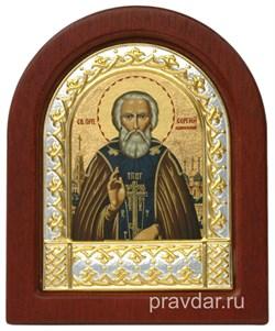 Сергий Радонежский, икона шелкография, деревянный оклад, серебряная рамка - фото 8693