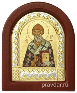 Спиридон Тримифунтский, икона шелкография, деревянный оклад, серебряная рамка - фото 8701