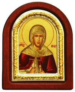 Фотиния Святая мученица, икона шелкография, деревянный оклад, серебряная рамка - фото 8709