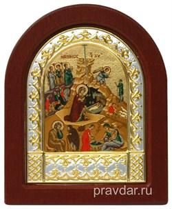 Рождество Христово, икона шелкография, деревянный оклад, серебряная рамка - фото 8721