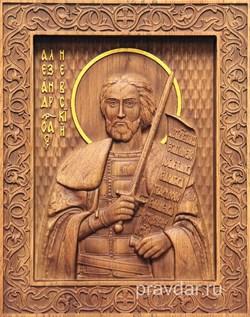 Александр Невский, резная икона на дубовой цельноламельной доске - фото 8743