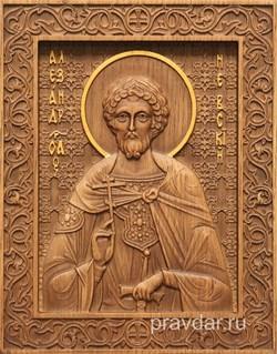 Александр Невский, резная икона на дубовой цельноламельной доске - фото 8745