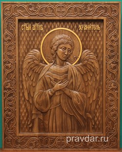 Ангел Хранитель, резная икона на дубовой цельноламельной доске - фото 8753