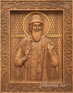 Владимир Святой князь, резная икона на дубовой цельноламельной доске - фото 8762