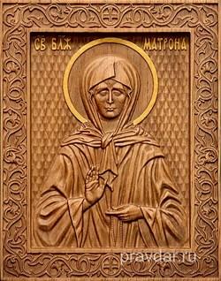 Матрона Московская, резная икона на дубовой цельноламельной доске - фото 8783