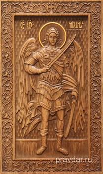 Михаил Архангел, резная икона на дубовой цельноламельной доске (ростовая) - фото 8792