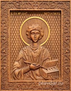 Пантелеймон целитель, резная икона на дубовой цельноламельной доске - фото 8809