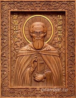 Сергий Радонежский, резная икона на дубовой цельноламельной доске - фото 8821