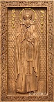 Сергий Радонежский, резная икона на дубовой цельноламельной доске (ростовая) - фото 8827